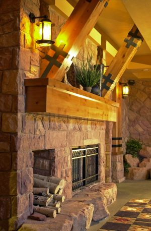 Lobby Fireplace and Timbers